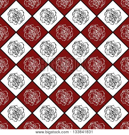 Red And White Seamless Chess Styled Vintage Texture With Clove Flower
