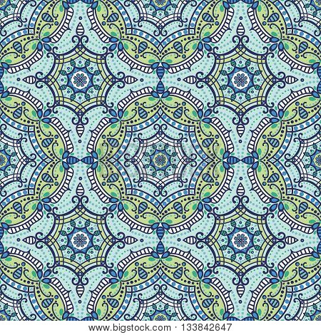 Mandala seamless pattern.Vintage vector decorative ornament and background.East, Islam, Arabic and Indian.Ottoman and Orient motifs.Abstract Tribal and ethnic texture.Symmetry blue mosaic, tile, fabric and wallpaper.