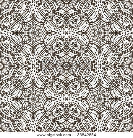 Mandala seamless pattern.Vintage vector decorative ornament and background. East, Islam, Arabic, Indian, ottoman and Orient motifs.Abstract Tribal and ethnic texture. Symmetry Brown mosaic, tile, fabric and wallpaper.