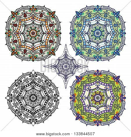 Mandala pattern set.Vintage vector decorative ornamenta and background. East, Islam, Arabic, Indian, ottoman motifs.Abstract Tribal and ethnic texture.Orient, symmetry lace, rosette and meditation symbol set.