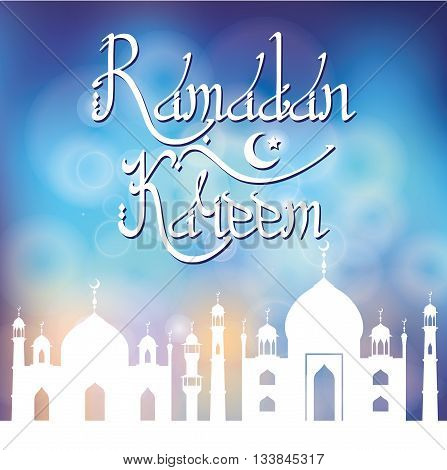 Ramadan Kareem. Ramadan Greeting Card with Mosque, minaret.Vector islamic lettering.Arabic motif, Geometrical ornament.Muslim Vintage wallpaper, religious Holiday Design, Abstract blurred blue background