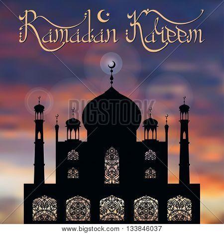 Ramadan Kareem card.Islam, arabic and muslim background.Vector Mosque, ornamental window, minaret , moon and night blue sky.Vintage Celebration card, holiday template. Illustration.Mosque black silhouette