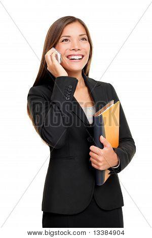 Onroerende goederenagent praten op mobiele telefoon