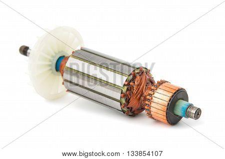 machine Electric motor rotor isolated white background