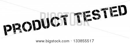 Product Tested Black Rubber Stamp On White
