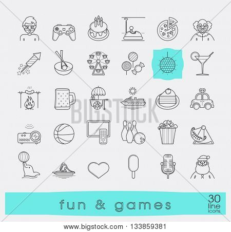 Set of premium quality line fun and games icons. Collection of vector icons for games, fun, leisure, sport, hobby, free time. Info graphics elements collection. Web graphics.
