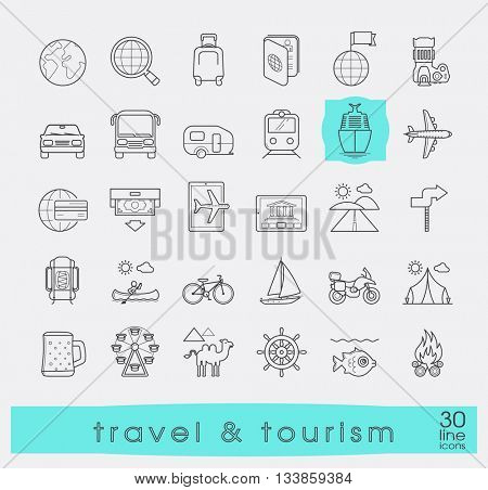 Set of premium quality line travel and tourism icons. Collection of icons.for travel, journey, vacation, trips, means of transport. Info graphics elements collection. Web graphics.