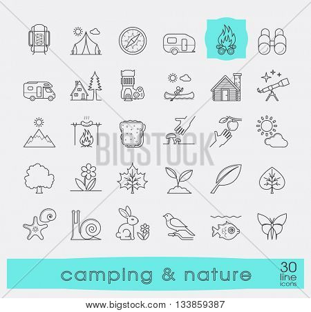 Set of camping and nature icons. Spending time in nature. Picnic, hiking in the wild. Collection of line outdoor icons. Vector illustration.