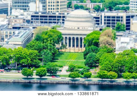Aerial View Of Boston Massachusetts Institute Of Technology Campus. Tilt-shift Effect Applied