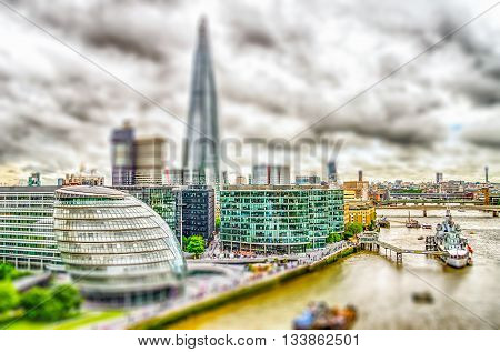 Aerial View Of South Bank, London. Tilt-shift Effect Applied
