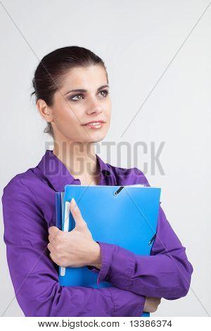 Secretary With Plastic Folders