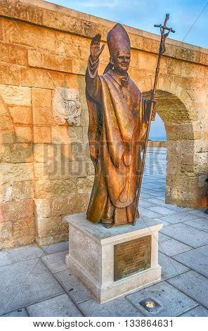Pope Benedict Xvi Bronze Statue, Santa Maria Di Leuca, Italy