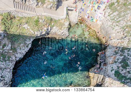 Beautiful Scenic Seascape At Ciolo Bridge, Salento, Apulia, Italy
