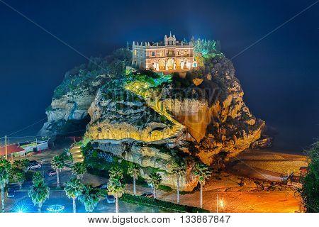 Church Of Santa Maria Dell'isola At Night, Tropea, Italy