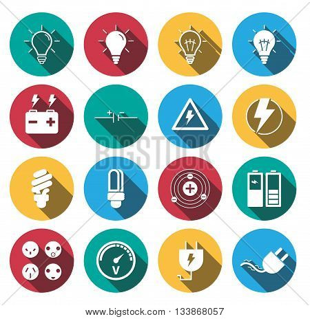 flat long shadow Electricity icons set. vector.