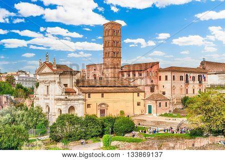 Exteriors of the Church of Santa Francesca Romana in Roman Forum Rome Italy poster