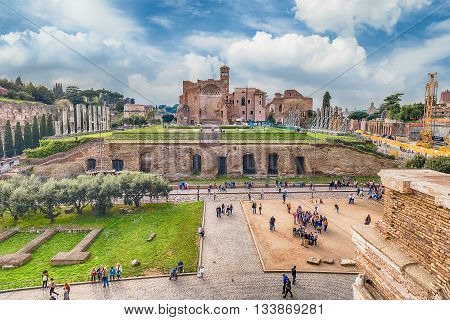 Aerial View Of Temple Of Venus In Roman Forum, Italy
