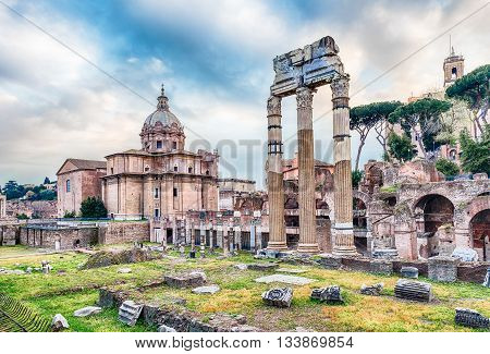 Forum of Caesar ruins in Via dei Fori Imperiali Rome Italy poster