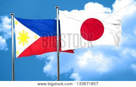 Philippines flag with Japan flag, 3D rendering