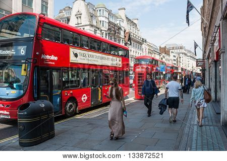 London Westminster UK 06 June 2016: Busy street in central London during the rush hours.