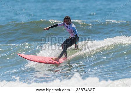 GAIA PORTUGAL - JUNE 11, 2016: Edouard Delpero (FRA) at LQS Longboard Pro Gaia Men's Longboard Tour #3.