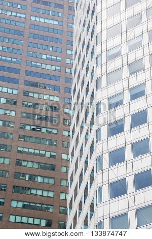 Modern office buildings background - business part of town