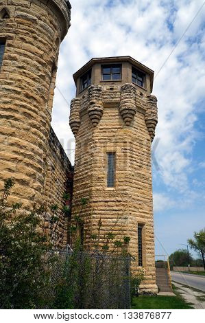 A guard tower at the old Illinois State Penitentiary, now vacant and abandoned in Joliet, Illinois.