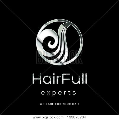 BEAUTIFUL HAIR , PREMIUM VECTOR LOGO / ICON DESIGN , SILVER