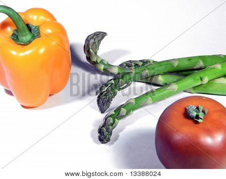 Pepper, Asparagus, and a Tomato