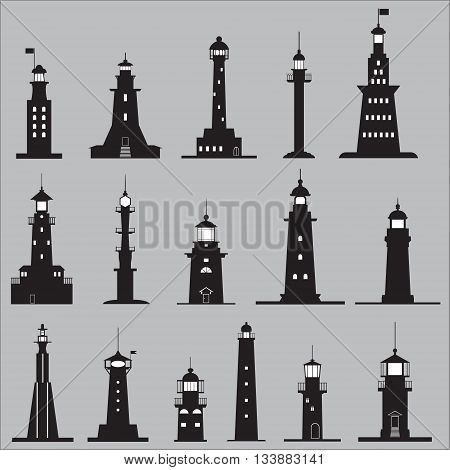 Set Icons of Signal Lighthouses. Vector illustration