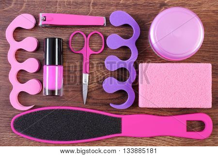 Cosmetics And Accessories For Manicure Or Pedicure, Concept Of Foot, Hand And Nail Care