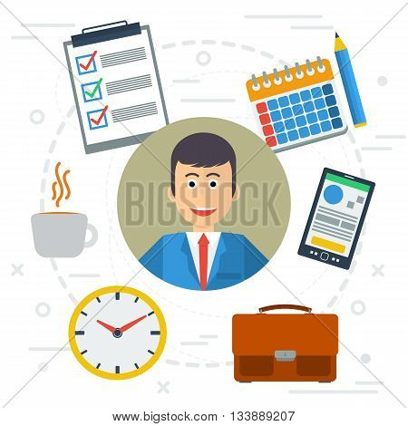 Vector business concept successful businessman with working process. List cup of coffee smartphone app and clock calendar onwhite background. Banner in flat style. Web infographic