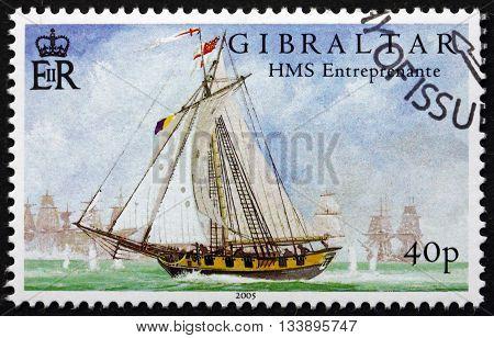 GIBRALTAR - CIRCA 2005: a stamp printed in the Gibraltar shows HMS Entrepenante Battle of Trafalgar Bicentenary circa 2005