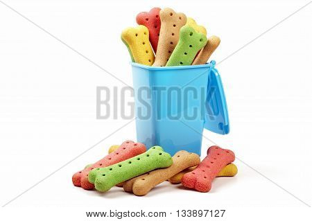 wheelie bin and dog biscuits on a white background