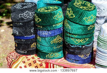 SAMARA RUSSIA - MAY 28 2016: Traditional tatar national embroidered skullcaps ready for sale during the Sabantuy holiday