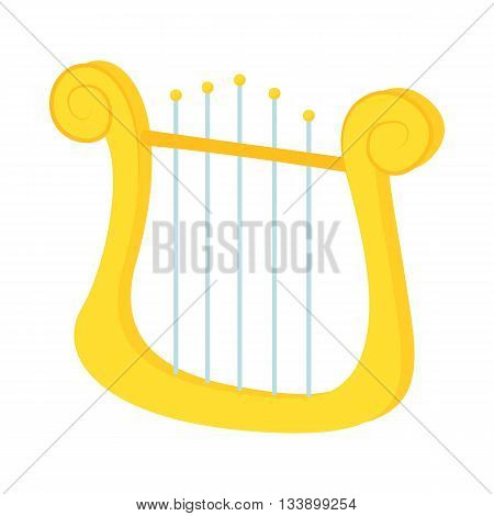 Lyre icon in cartoon style on a white background