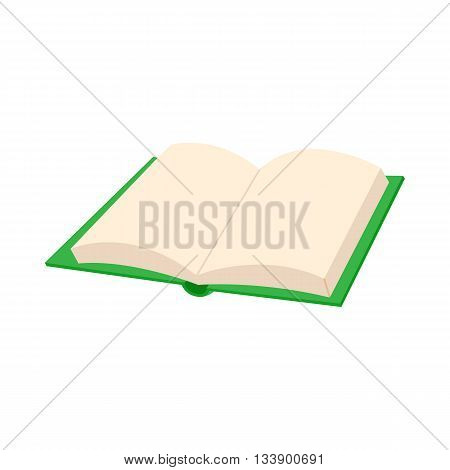 Opened blank book icon in cartoon style on a white background