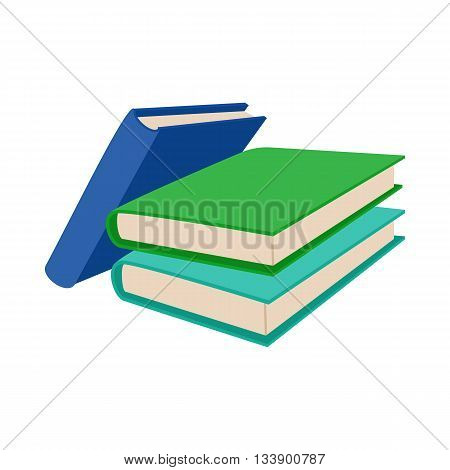 Three colored books icon in cartoon style on a white background
