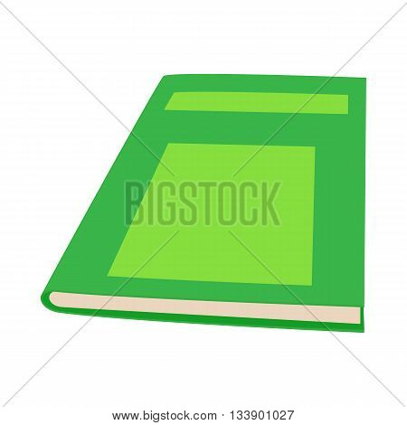 Closed green book icon in cartoon style on a white background