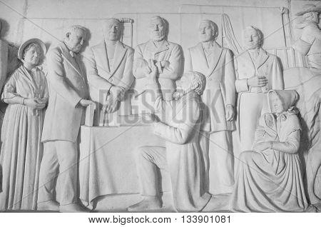 South Africa Pretoria - 28 June 2016: Voortrekker monument. Bas relief in the Hall of Heroes.