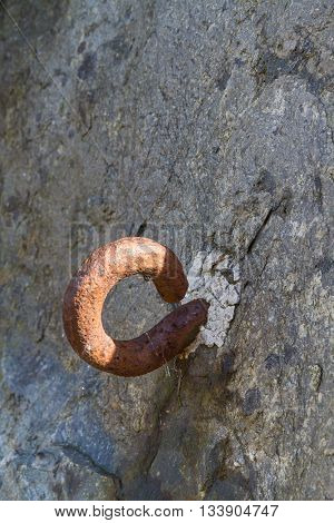 Metal Hook Set In Rock. World War Two Roadblock.