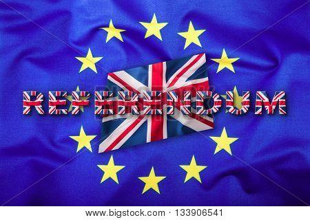 Referendum. Brexit. Flags of the United Kingdom and the European Union. UK Flag and EU Flag. British Union Jack flag. Flag outside inside stars. England appearances in the European Union.