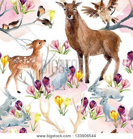 Spring forest seamless pattern. Deer with fawn rabbits birds and first spring flowers. Hand painted illustration on white background