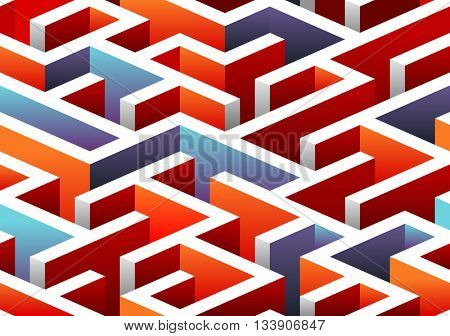 Isometric seamless Maze pattern. vector illustration