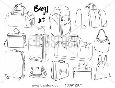 Different types of bags, cases, suitcases, backpacks, kids backpack, box, Lady bag, carry-on luggage, purse and other. Vector illustration poster