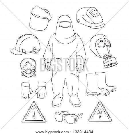 Set of tools, signs and protective clothing and equipment for safe work.