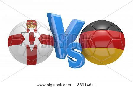 Football competition between national teams Northern Ireland and Germany, 3D rendering