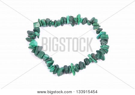 Splintered Malachite Chain On White Background