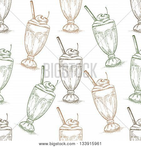 Seamless pattern cherry milkshake scetch. Sketched fast food vector illustration. Background with drink for cafe, restaurant, eatery, diner, website or take away bag design