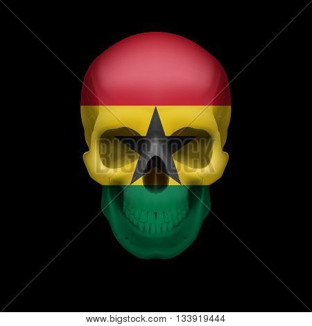 Human skull with flag of Ghana. Threat to national security war or dying out